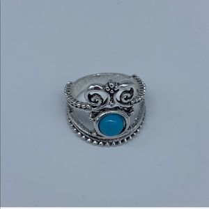 New blue circle stone in gray oval fashion ring 6